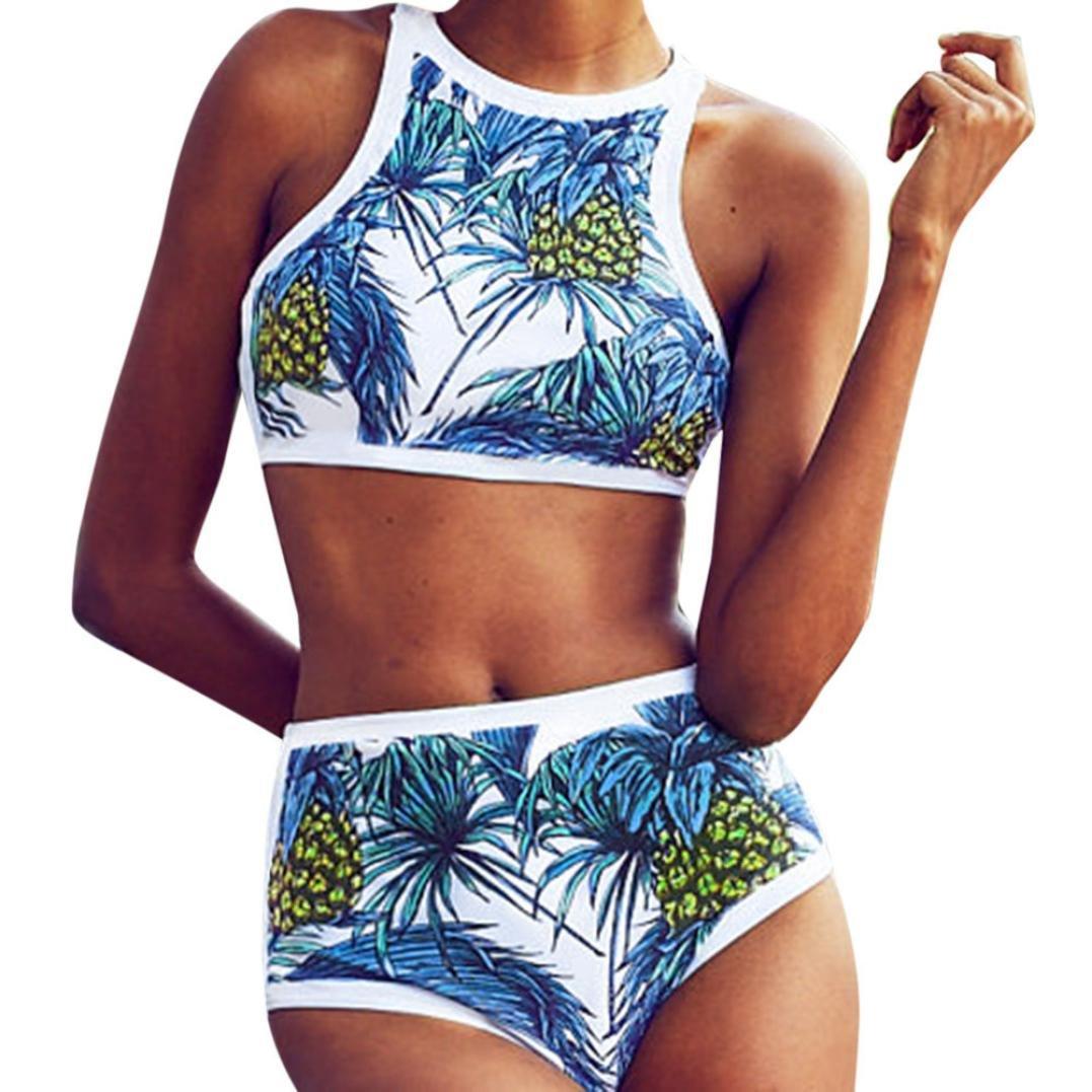 Angelof Haut De Maillot De Bain Triangle Imprimé Ananas Palm Femme Maillot 2 Pieces Taille Haute Bikini Push Up Rembourre Ado Fille