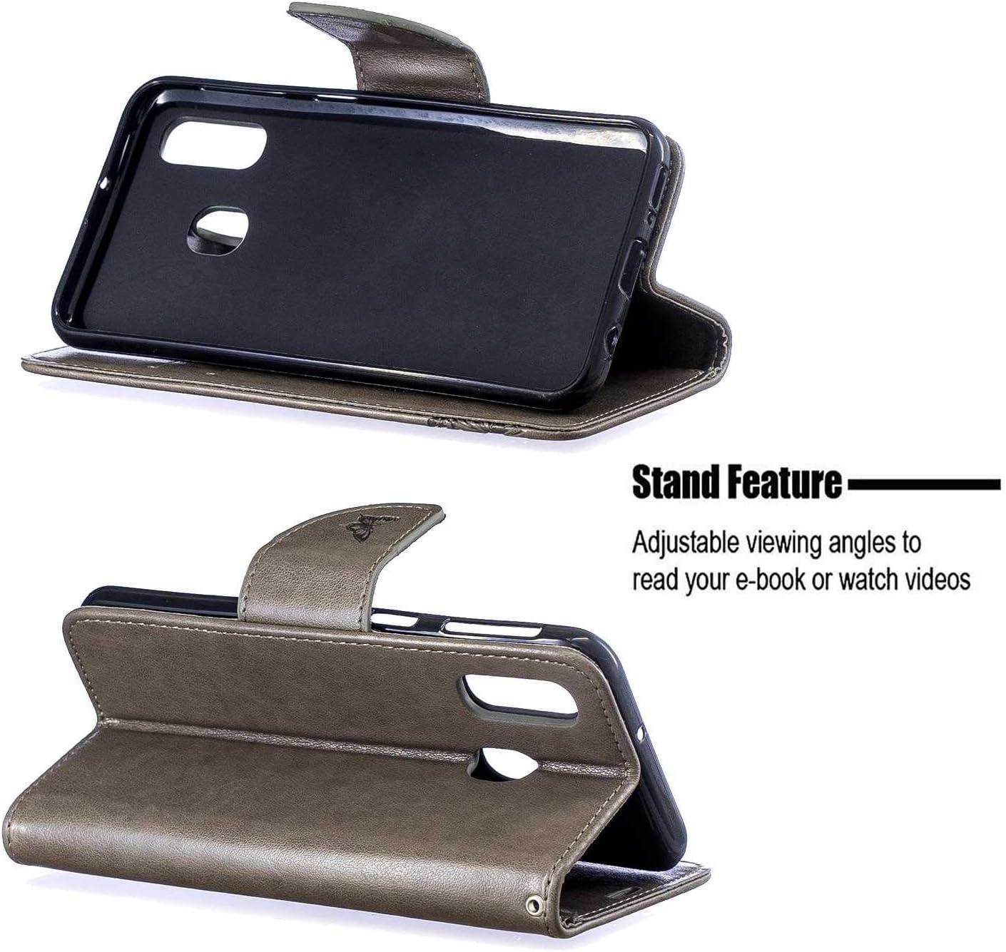 DENDICO Coque Galaxy A70 Coque Etui Housse pour Samsung Galaxy A70 Gris Protection Portefeuille en Cuir avec Fonction Support et Emplacement de Cartes
