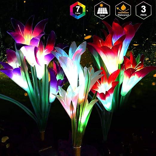 Luces LED solares con diseño de lirio de lirio, 3 unidades, 12 cabezas, 7 colores que cambian de color, para exteriores, jardín, patio, camino, decoración de fiesta (blanco morado y rosa): Amazon.es: Iluminación