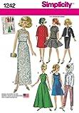 Simplicity 1242, tamaño OS, patrón de costura para ropa de muñeca para 111/2pulgada de muñeca Vintage, Multicolor