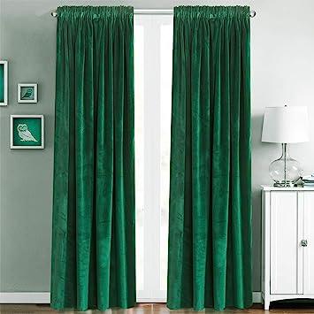 Amazoncom Blackout Velvet Curtains Rod Pocket Drapes Dark Green 96
