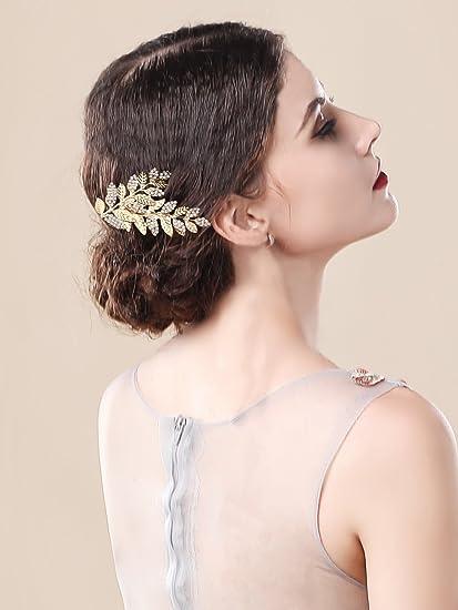 Handcess foglia d  oro da sposa fermacapelli strass greco mollette per  capelli a28f5c07ccf4