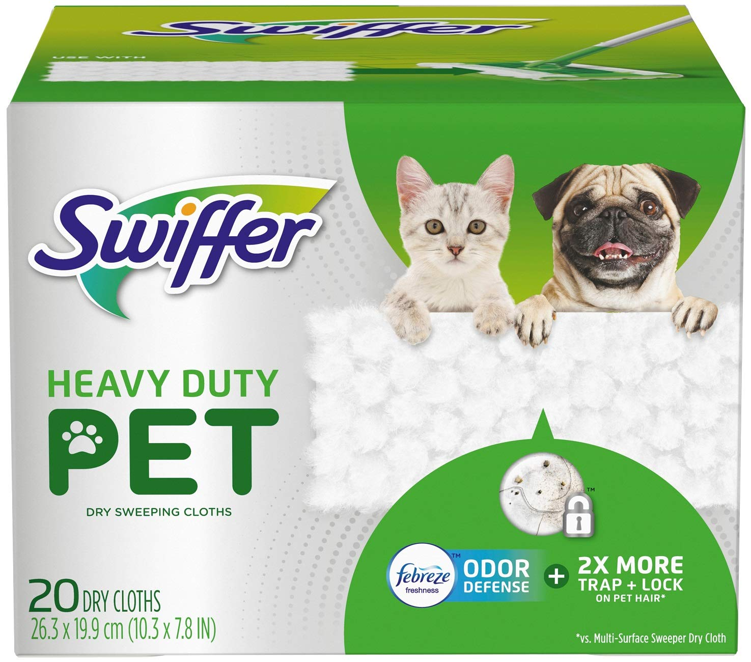 Swiffer Heavy Duty Pet Dry Sweeping Cloth Refills with Febreze Odor Defense, 20Count