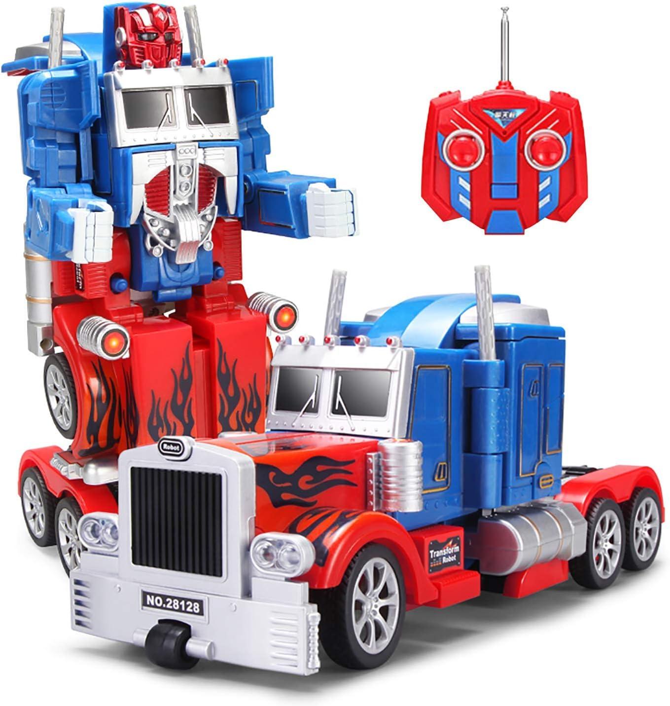 YARMOSHI Robot Camión 2 En 1 Figura De Acción, Autobot. Este Juguete De Combate con Mando A Distancia Tiene Una Conexión USB para Facilitar La Carga. Hecho De Materiales Seguros Y Resistentes,