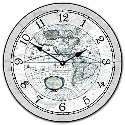 Amazon the big clock store 16th century world map clock gray the big clock store 16th century world map clock gray 12quot 48quot gumiabroncs Choice Image