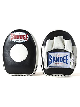Sandee Muay Thai Boxing Leather Black /& White Mini Focus Mitts
