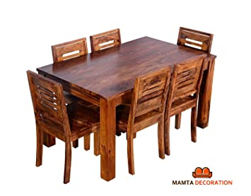 2add6220b974b Mamta Decoration Sheesham Wood Wooden Dining Table with 6 Chairs ...