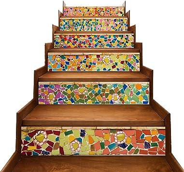 TONGXU 6PCS Pegatinas Adhesivos Autoadhesivos para Escaleras Cocina Piso Baño Decoración Vintage Multicolor Multi-estilo Hogar Impermeable Extraíble Etiqueta de Pared 18x100cm (Azulejos de Colores): Amazon.es: Bricolaje y herramientas