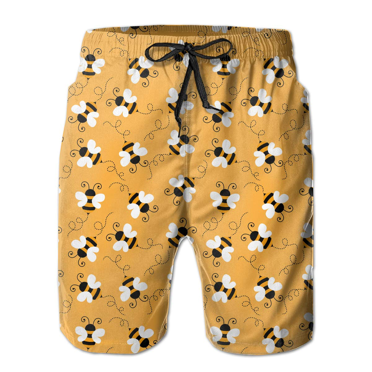 Polyester Bee Pattern Board Shorts with Pockets Xk7@KU Mens 3D Printed Beach Shorts
