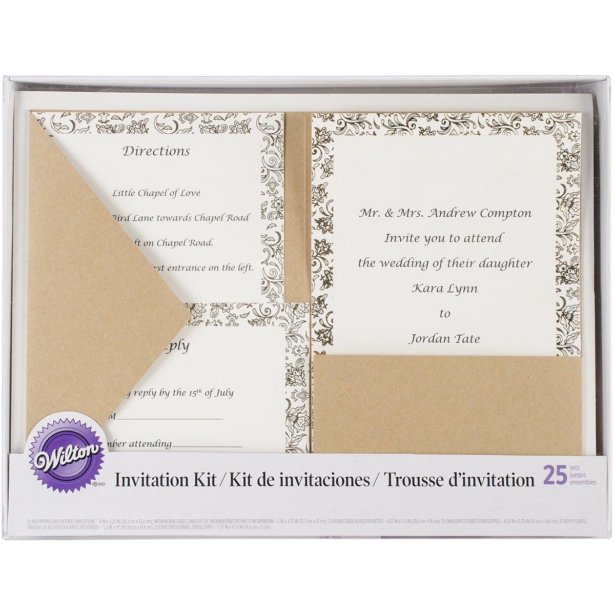Amazon Wilton 1008 8956 Kraft Pocket Invitation Kit For Wedding 25 Pack Home Kitchen
