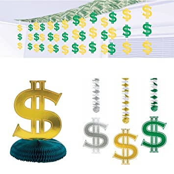 Amazon Com Dollar Sign Casino Party Supplies Pack Ceiling