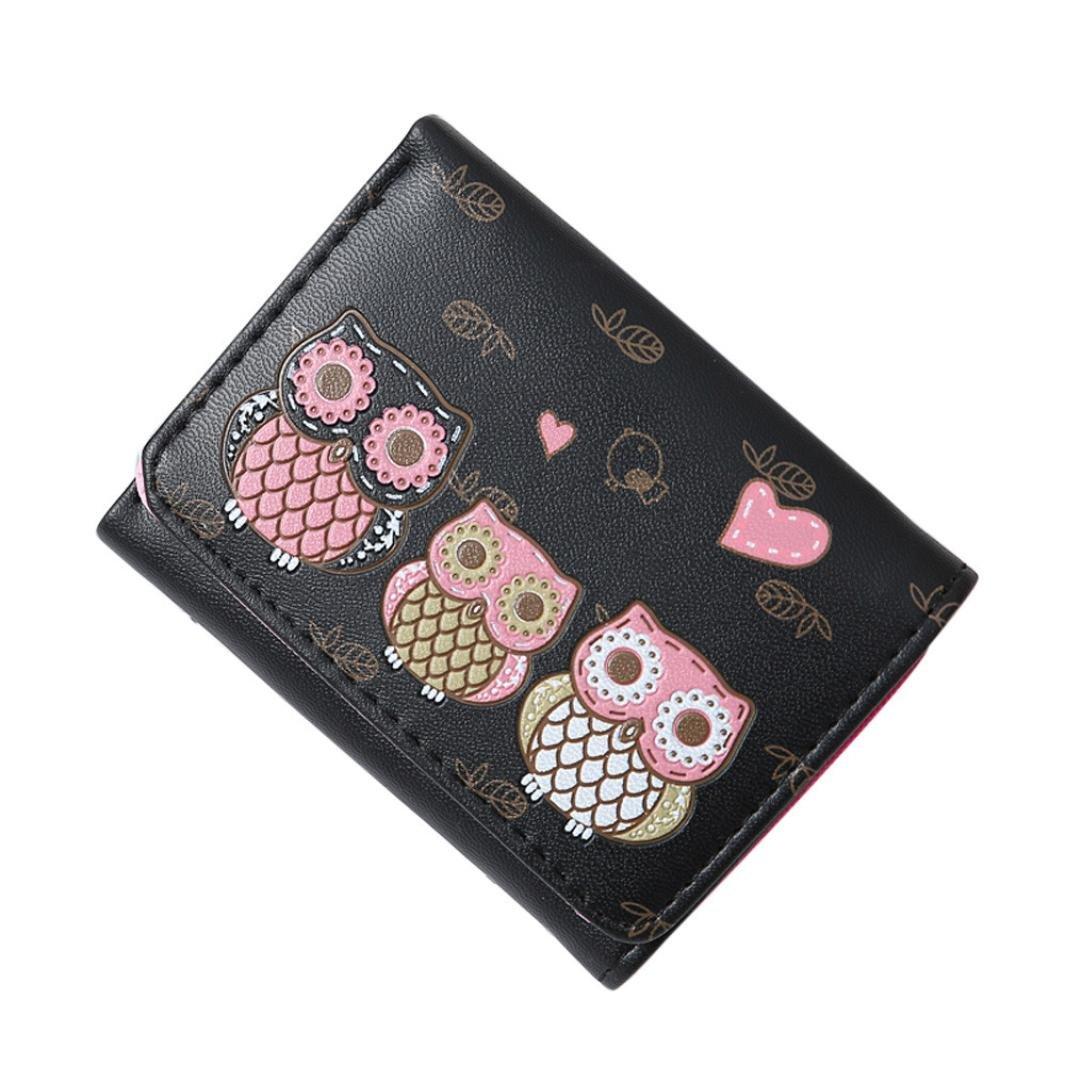 Sumen Wallet, Cat Pattern Coin Purse Short Wallet Card Holders Handbag (Owl-Black)