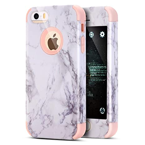 Funda iPhone 8 Plus,Funda iPhone 7 Plus,ikasus patrón mármol híbrido doble capa Hard PC & TPU Silicona Fundas Skin Cover Carcasa Silicona Protective ...