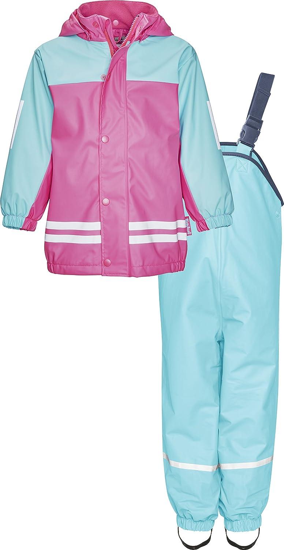 Playshoes Kinder Wasserdichter Matschanzug, Regenanzug mit Fleece-Futter, Reflektoren, Abnehmbare Kapuze, Giacca Impermeabile Bimba 408680