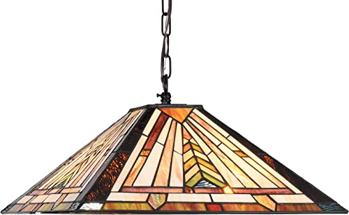 Cotoss Tiffany Hanging Lamp, Stained Glass Dinning Room Lighting Fixtures Hanging, 16 Inch Wide Hanging Light, Pendant Light, Mission Lampshade Pool Table Light