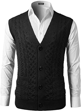 COOFANDY Mens Slim Fit V Neck Cable Knit Sweater Vest with Front Button