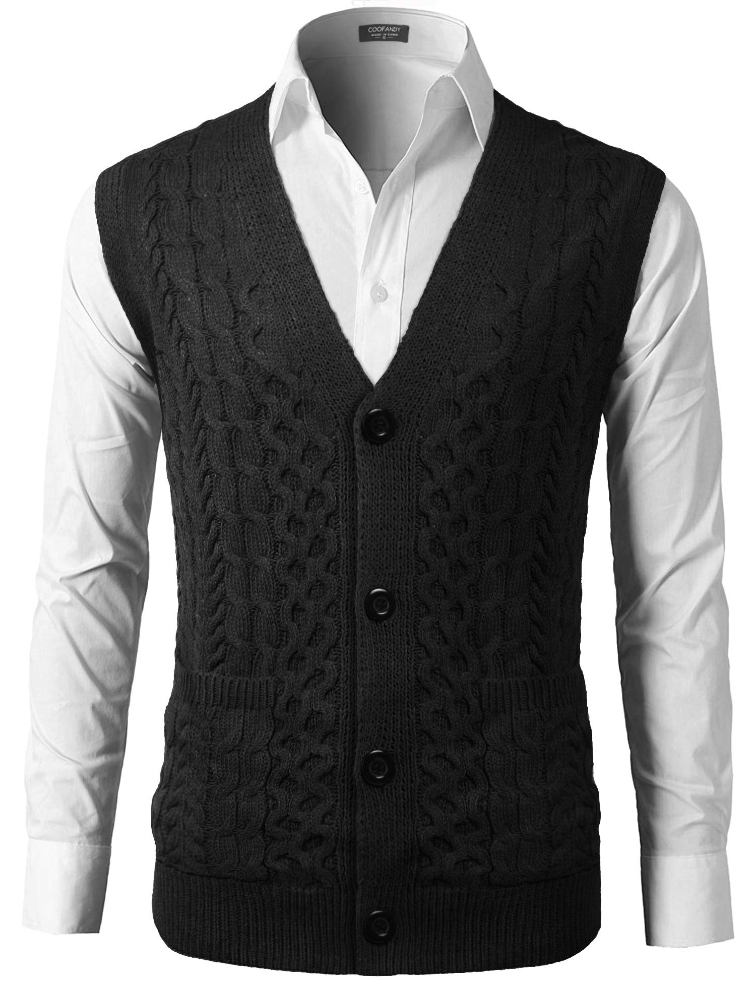 COOFANDY Men's V-Neck Jacquard Sweater Vest Classic Knitwear Cardigan Waistcoat Black by COOFANDY