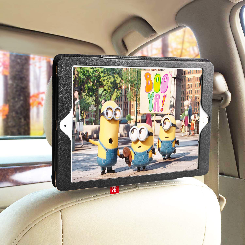 iPad 3 iPad 4 Hikig iPad 6 Color Black iPad 2 Car Headrest Mount Holder Working as a PU Leather Case When Separated iPad 5