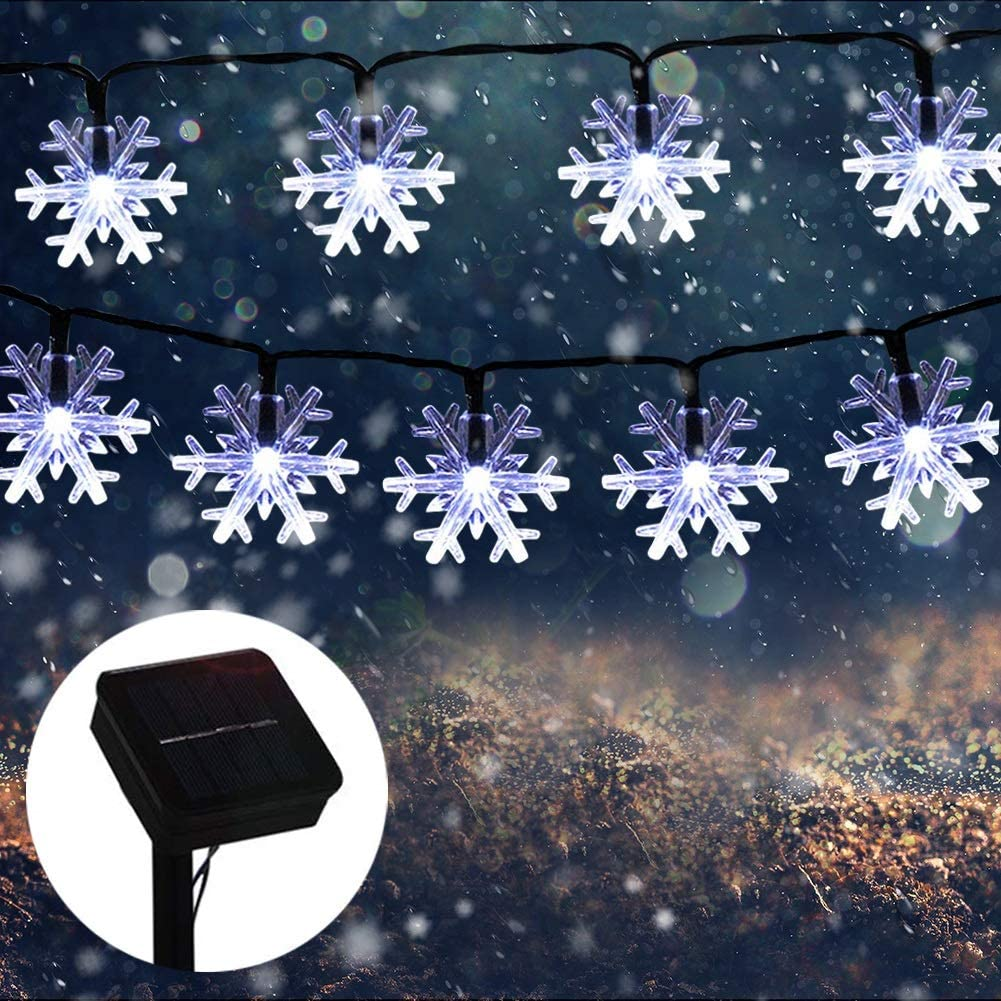 MQ Christmas Snowflake String Lights, 23 ft 50LEDs Snowflake Lights Decorations Waterproof Solar Powered 8 Modes String Lights for Christmas Indoor Outdoor Garden Lawn Home Party Decor