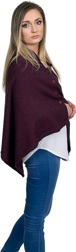 Grandwool poncho con bottoni in lana merino e cashmere per donna in colore bordeaux