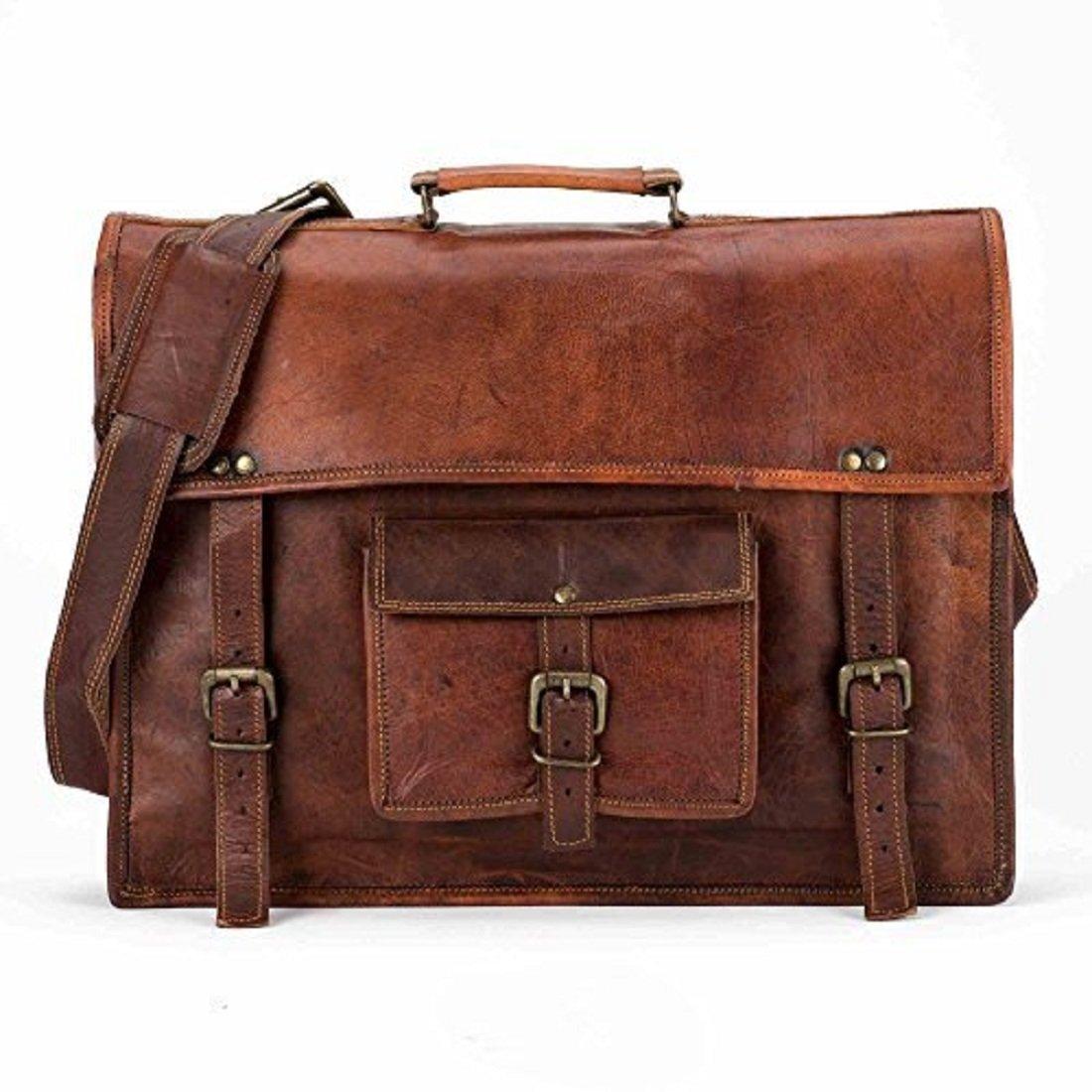 Messenger Bag 15'' Briefcase Office Bag Laptop Bag Genuine Leather Bag Vintage Handmade Bag. (Style 13)