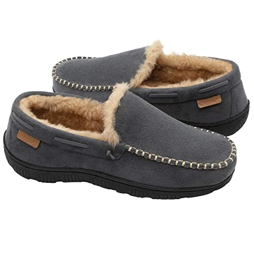 75a945b821 Zigzagger Men's Wool Micro Suede Moc Stitch Slippers House Shoes  Indoor/Outdoor,Grey,