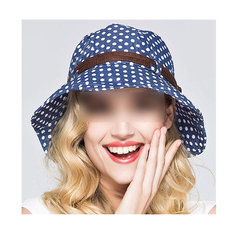 Wave Point Female Summer Wide Belt Sun Hat 2019 Women Foldable Beach Hat Anti-Uv Cloth Sunsn Cap