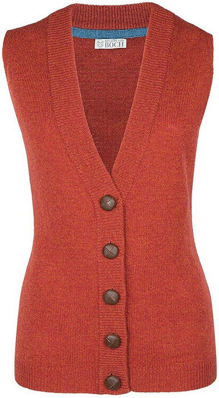 Donna Moray Gilet a Maglia Rosso-Arancio Brigitte von Boch