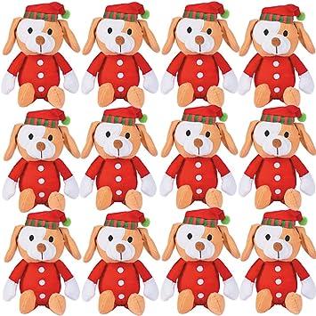 12 plush christmas pj puppies bulk stuffed animal toys for kids holiday puppy dogs