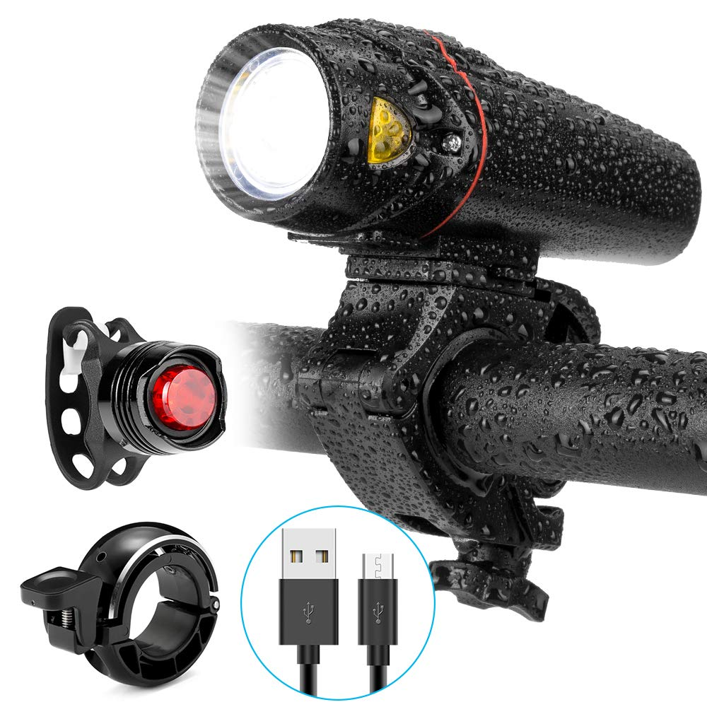 Mini Bike Light Front and Back Set,USB Rechargeable LED Bike Headlight(3rd Generation,Smart,Super Bright Wider Sector Area)Alloy Bike Bell and Red Tail lights,Easy Install&Quick Release Fits All bikes
