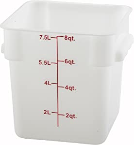 Winco Square Storage Container, 8-Quart, White