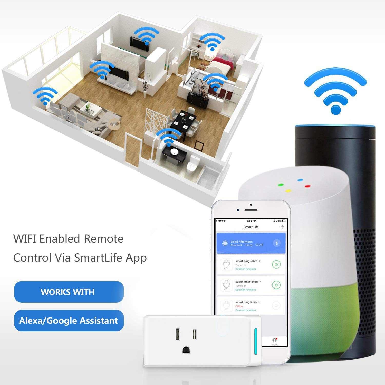 Smart Plug Wifi Electrical Outlet Switches USB Mini Socket Compatible with  Alexa Echo Google Home Remote Control by Cellphone Smart Strip Plug 2 Pack