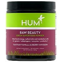 HUM Raw Beauty Green Superfood Powder - Vegan Adaptogens, Enzymes & Probiotics Supplement...