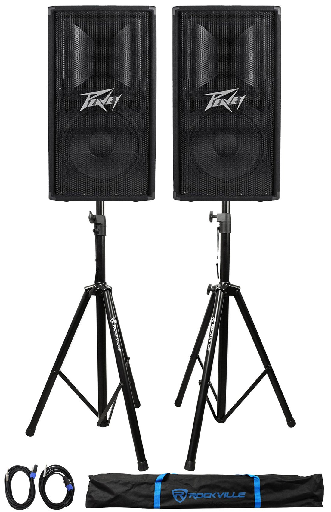(2) Peavey PV112 12'' 1600w Live Sound Speakers+2) Stands+2) Cables+Carry Case