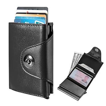 Tarjetero Billetera Hombre 2 en 1 ,RIFD Cartera Crédito Delgada de Cuero antiarañazos para Billetes y Tarjeta [Negra]: Amazon.es: Equipaje
