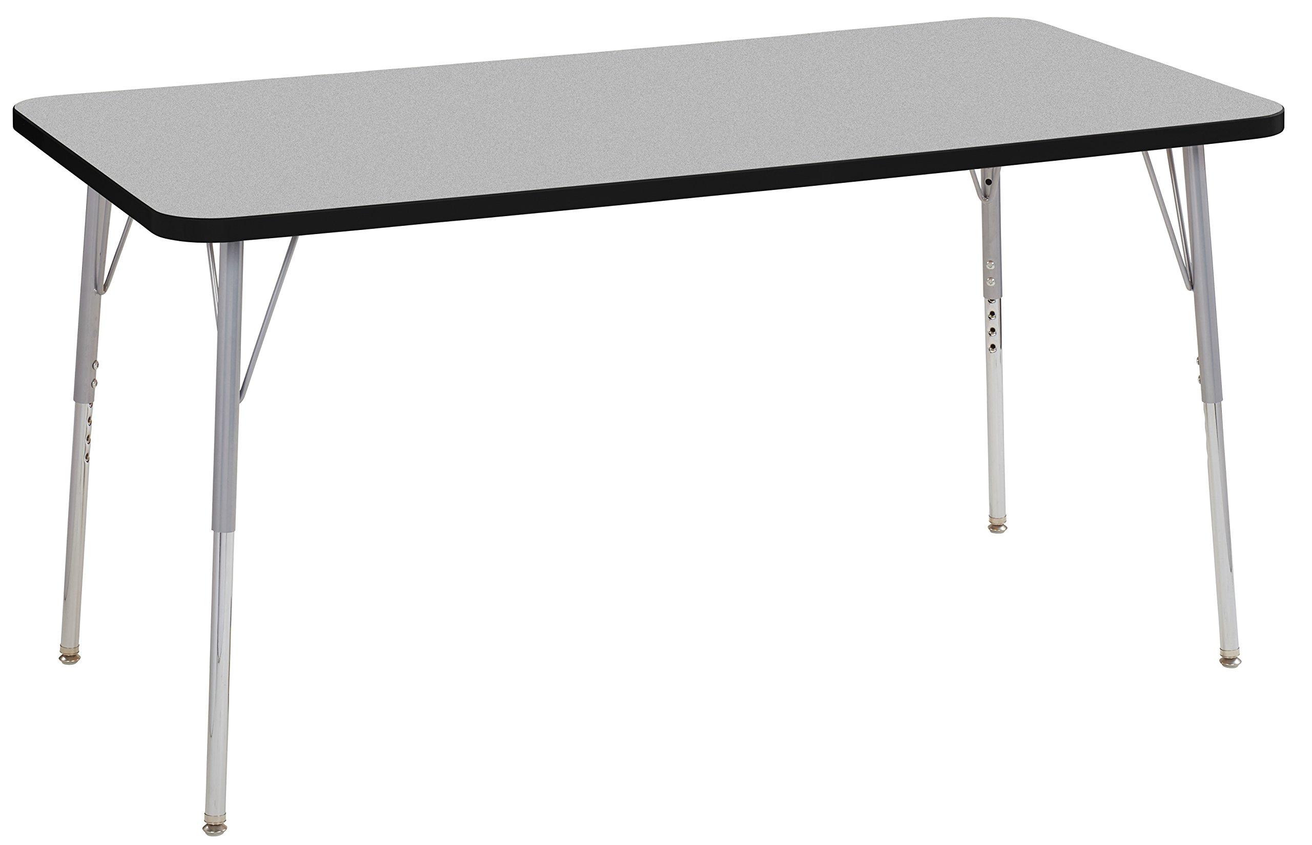 ECR4Kids Contour 30'' x 60'' Rectangle Activity School Table, Standard Legs w/ Swivel Glides, Adjustable Height 19-30 inch (Grey/Black)