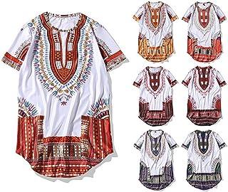 TFJNVJGVKM High Street a Maniche Corte T-Shirt_Uomini 3D Stile Etnico Scollo Rotondo Hip-Hop High Street a Maniche Corte T-Shirt,Rosso,XXL