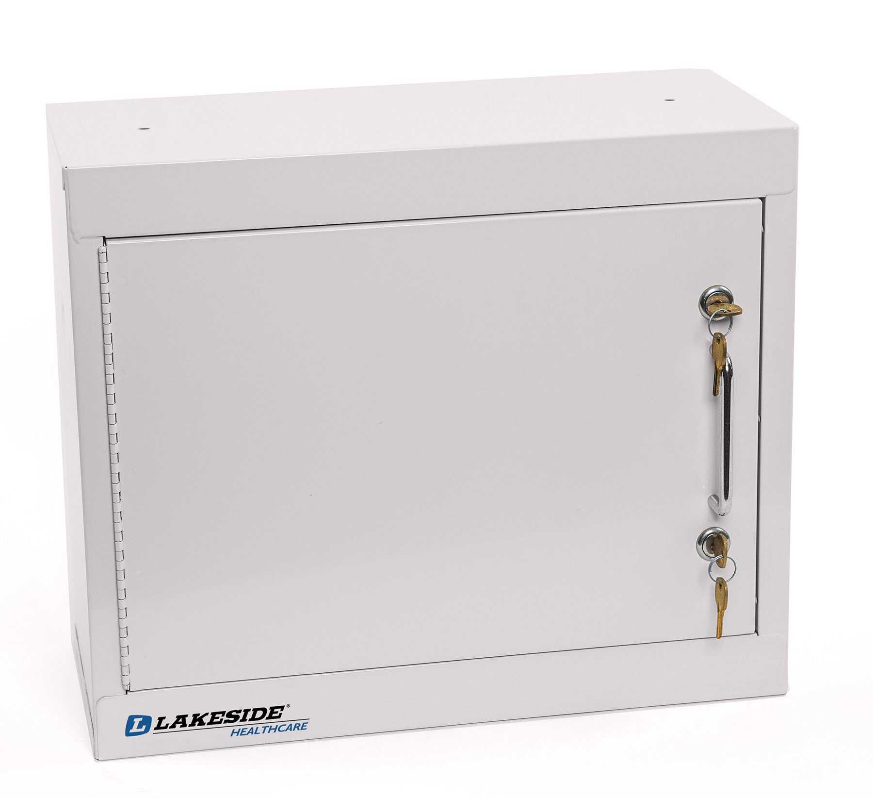 LAKESIDE MANUFACTURING LNC-1 Lakeside Narcotics Cabinet-1 Door,Double Lock, Handle-2 Adjustable Shelf, Beige , 15'' Height, 18'' width