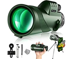 Pankoo 40X60 Monocular Telescope with Smartphone Holder & Tripod, 2021 Power Prism Compact Monoculars for Adults Kids HD Mono