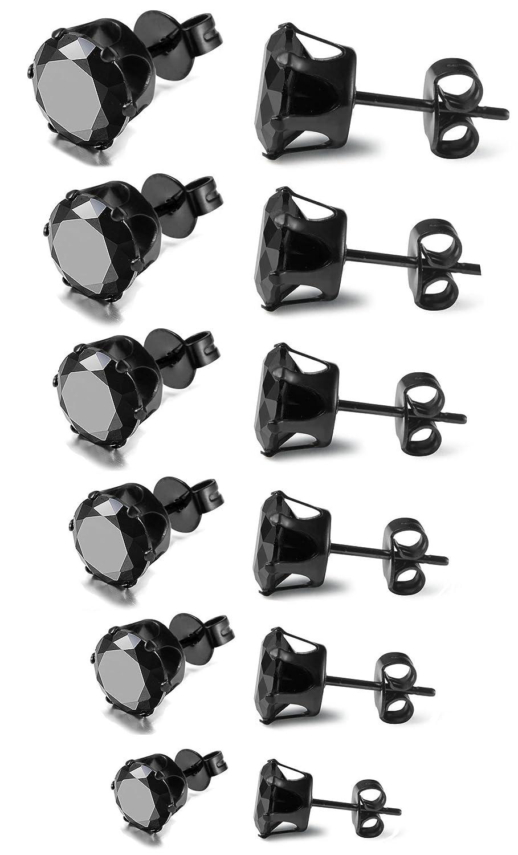 FIBO STEEL Stainless Steel Mens Womens Stud Earrings Black Round Cubic Zirconia Inlaid, 6 Pairs 3mm-8mm 1WBE558SET