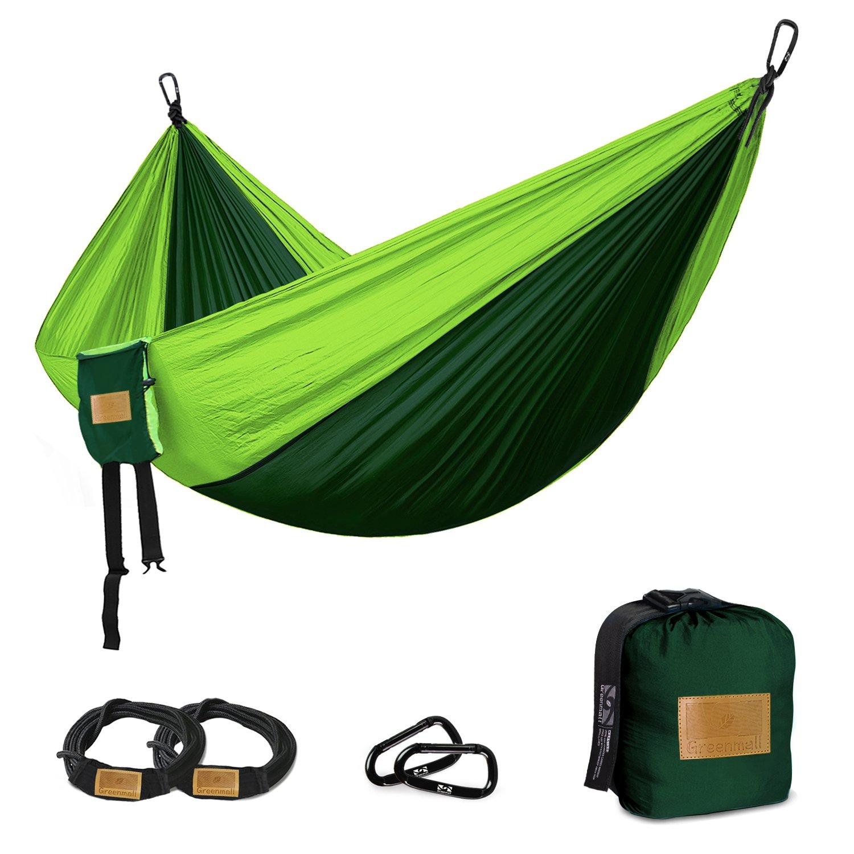 GreenMallダブルポータブルキャンプハンモック、ソフト通気性パラシュートナイロン軽量ハンモックのハイキング旅行バックビーチガーデン、660lbs容量、3年保証 B07B961VW1  グリーン 118\