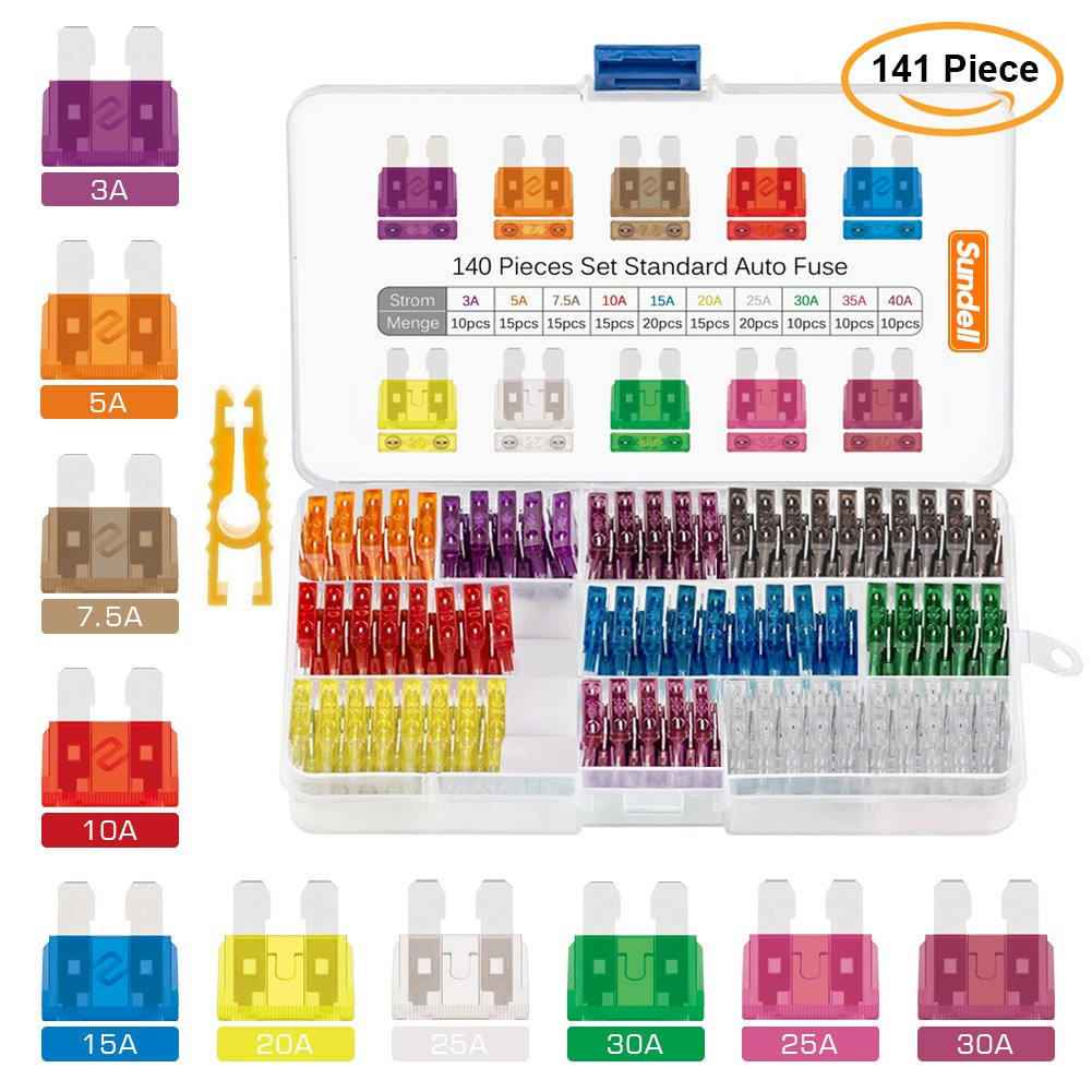 Sundell 140 Pcs Ensemble de Fusible (3A 5A 7.5A 10A 15A 20A 25A 30A 35A 40A) et 1 Pince Fusible Moyenne