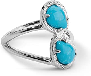 product image for Carolyn Pollack Sterling Silver Turquoise Gemstone Two Stone Ring - Choice of Gemstones