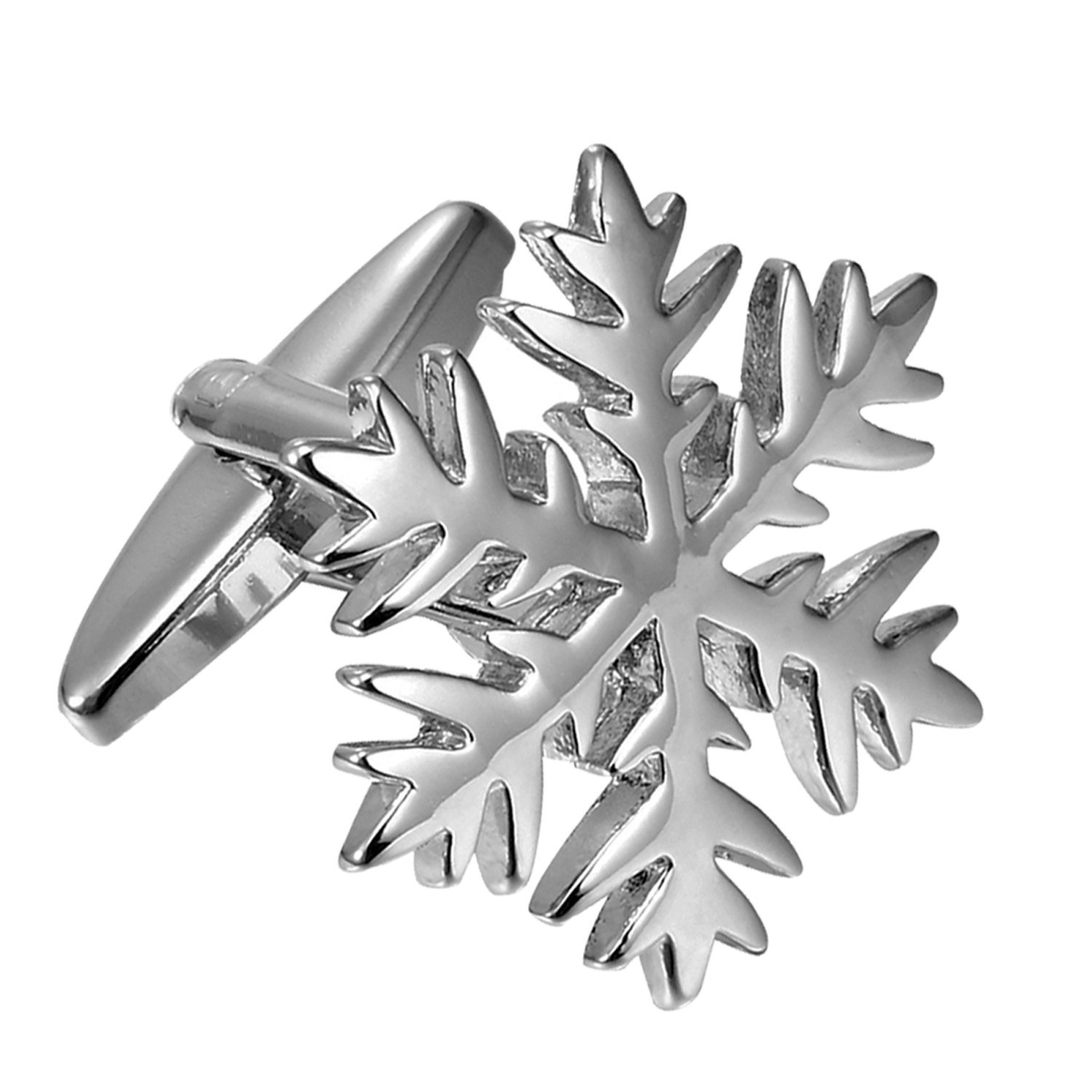 Urban Jewelry Unique Christmas Snow Snowflakes Stainless Steel Cufflinks for Men (Silver) AC1291 U