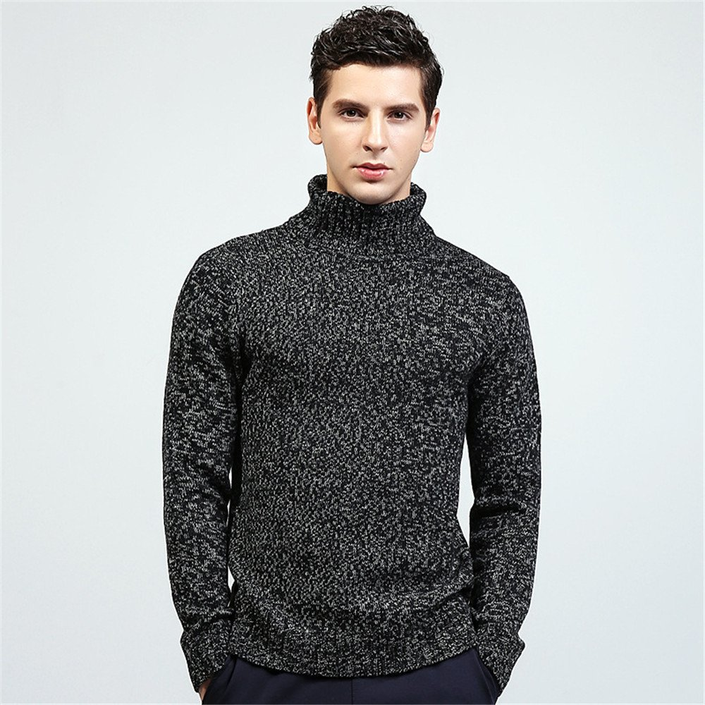 Jdfosvm Herbst und Winter Mode männer  Herren langärmelige Pullover Pullover Rollkragen - Pullover in England,schwarz,XL