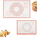 2in1 Silicone Pastry Baking Mat (40x60cm) & (26x29cm), Reayouth Non-Stick Reusable Rolling Pastry Mat with Measuring…
