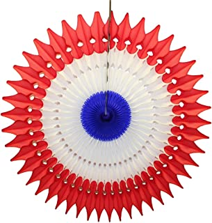 product image for 3-Pack 21 Inch Tissue Paper Party Fan Decoration (Patriotic - Red/White/Blue)