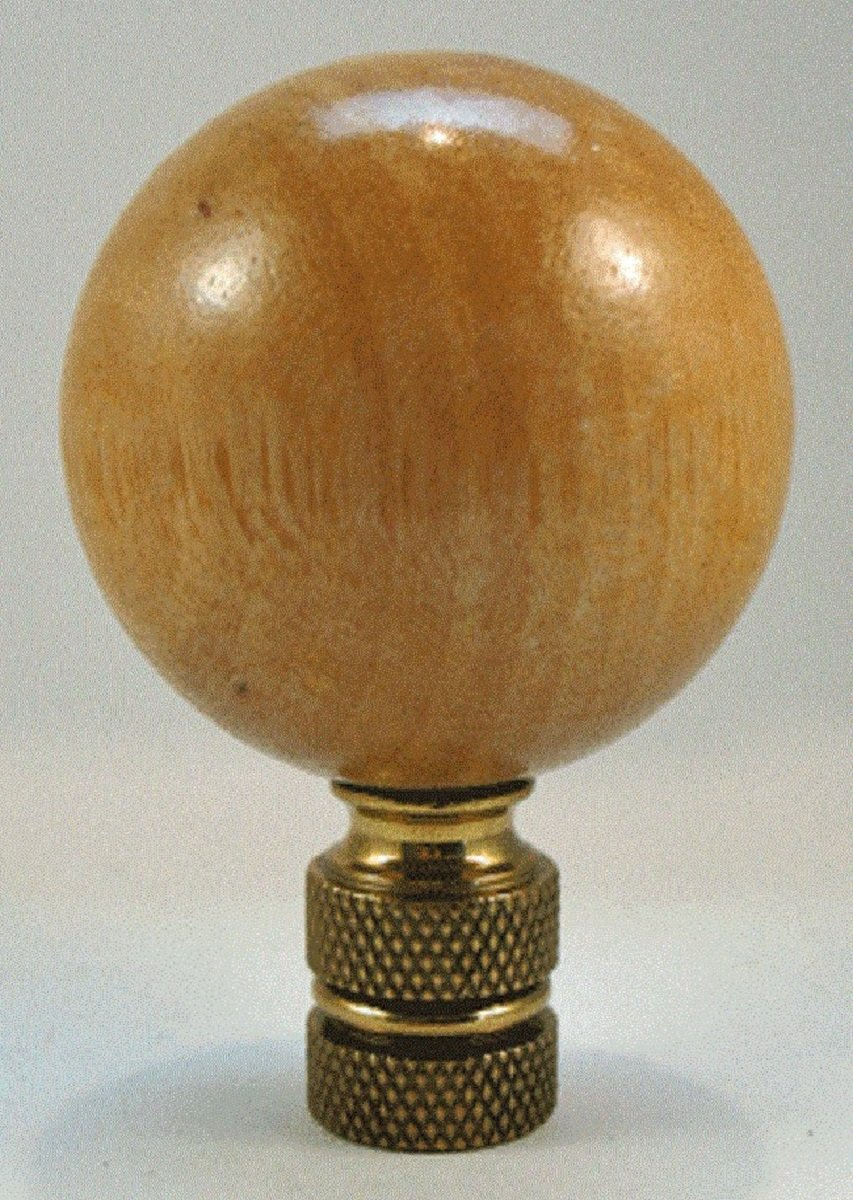 Natural Wooden Ball Lamp Finial - Light Waxed Finish - 2 inches High, 1.25 inch Diameter by JMB (Image #1)