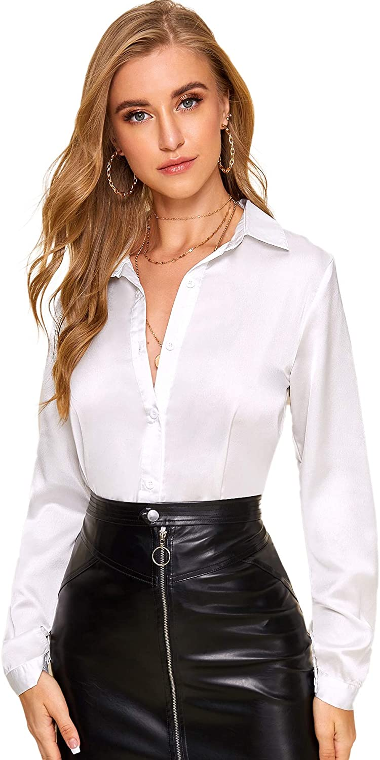 SOLY HUX Women's Satin Silk Long Sleeve Button Down Shirt Formal Work Blouse Top