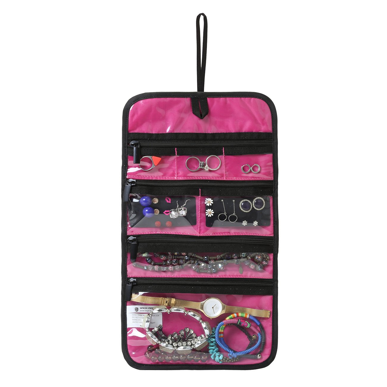 BAGSMART Hanging Travel Jewelry Roll Bag with Zippered Compartments for Earrings & Necklaces & Ring, Pink